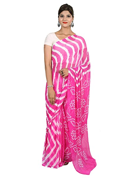 982dee6187 Bilochi's Women Chiffon Bandhej And Leheriya Printed Saree With Same Color  Blouse Piece(Length-5.5 Meter, Multi Color): Amazon.in: Clothing &  Accessories