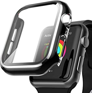AISIBY Case Compatible with Apple Watch Series 6/5/4/se 44mm with Built-in Tempered Glass Screen Protector,Silver Edge Black Bumper Full Coverage HD Clear Protective Film Cover for Women Men