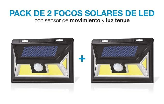 Foco solar led, Foco con sensor de movimiento, Foco con 3 posiciones de luz