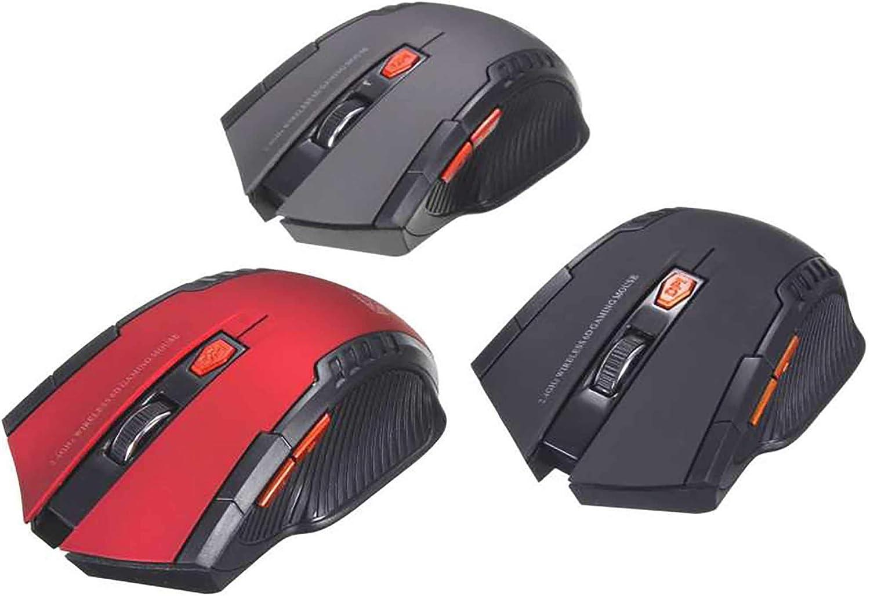 Ellenne Souris Gaming Sans Fil 1200 DPI 6 Touches Optique Ordinateur Portable Jeu PC bleu Noir