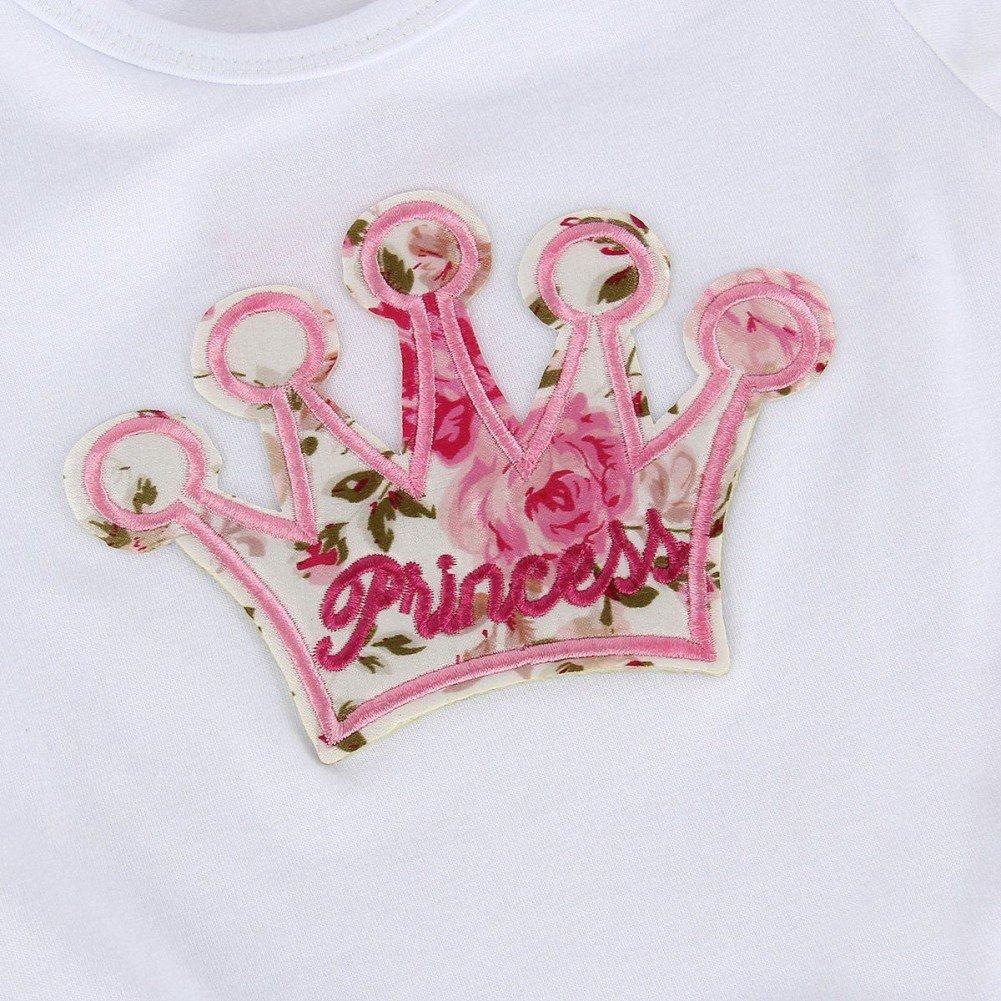 MiyaSudy Baby Girls Kleidung Kurzarm Prinzessin Crown Spielanzug Floral Divided Rock Bekleidung Sets