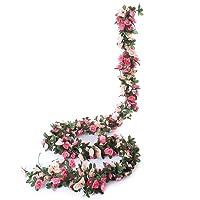 Miracliy 5 Pack 41 FT Fake Rose Vine Flowers Plants Artificial Flower Hanging Rose...