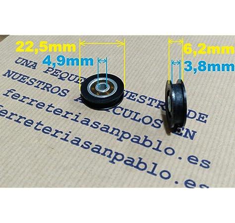Winwill® 4Pcs 5 * 20 * 7mm negro POM recubierto rodamiento de bolas de rueda de rueda para muebles de polea: Amazon.es: Bricolaje y herramientas