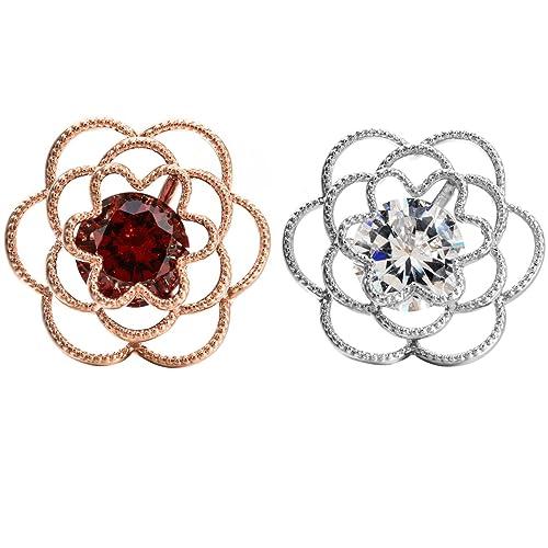 ec7490d19 W WOOGGE Men's Lapel Pin Set Red Crystal Zircon Wedding Women Rose Flower  Cuff Brooch pin