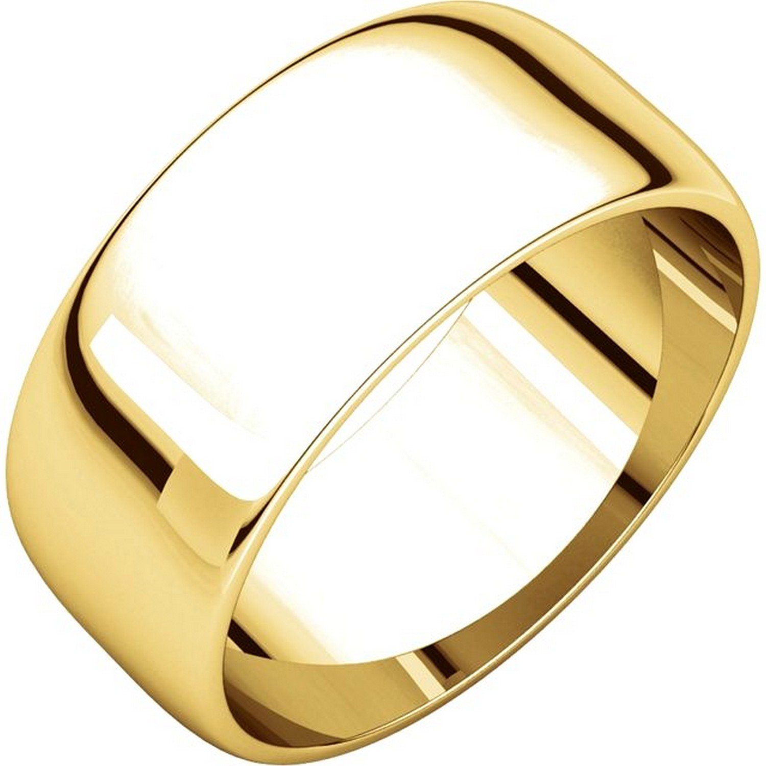 Men's and Women's 14k Yellow Gold, 8mm Wide, Plain Wedding Band - Size 8