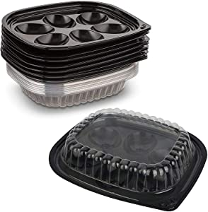 Black PET Deviled Egg Catering Trays w/Clear Snap Lock Dome Lids, 12 Pack - Capacity of 6 Egg Halves Each