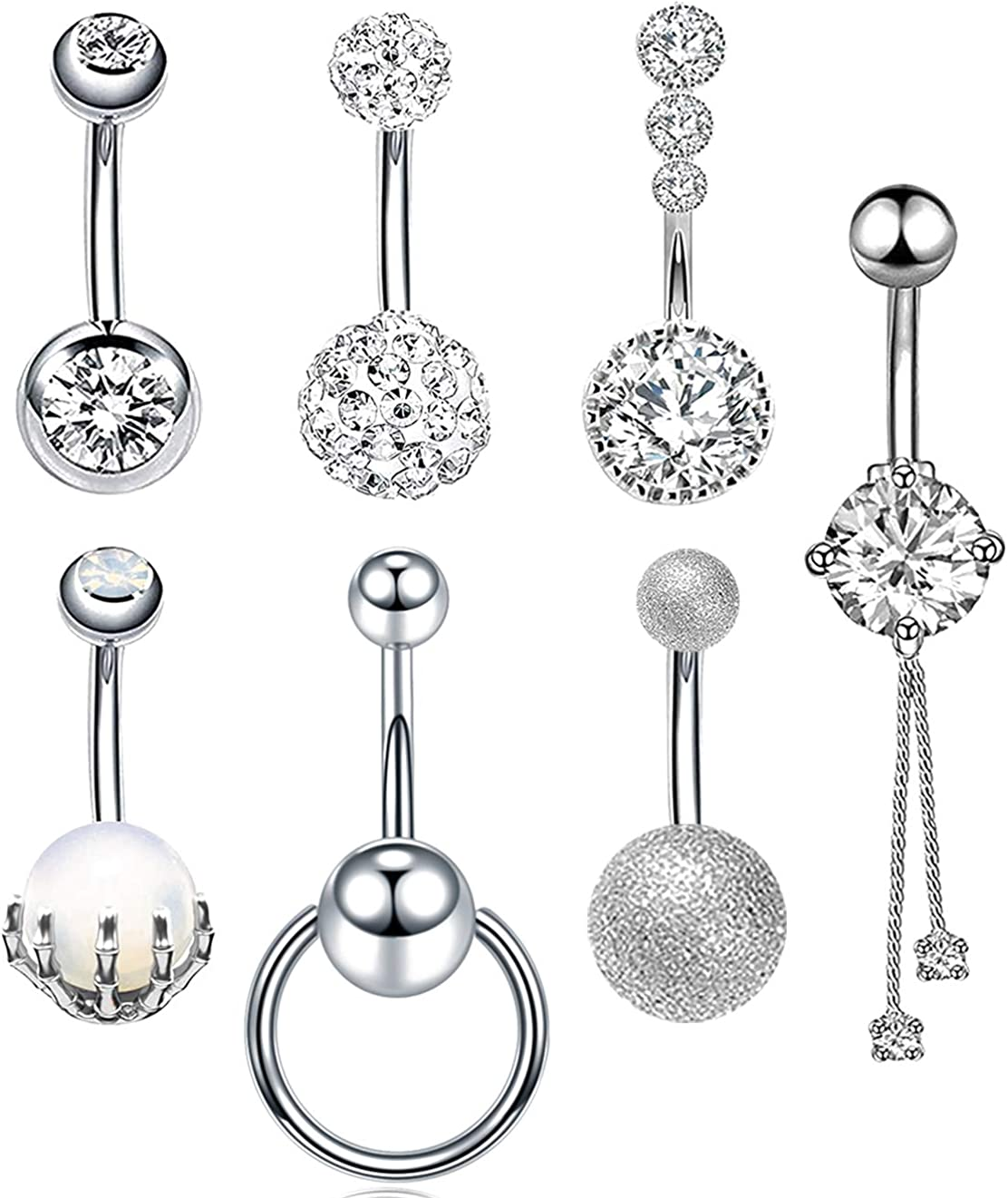 AceFun 16Pcs Belly Button Rings Surgical Steel Belly Rings for Women Girls Navel Bars Body Piercing Jewelry 14 Gauge