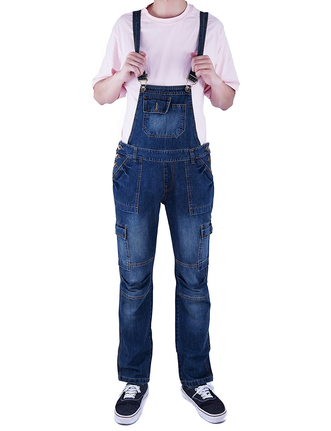 Idopy Men`s Multi-Pockets Washed Vintage Denim Bib Overalls Jumpsuit