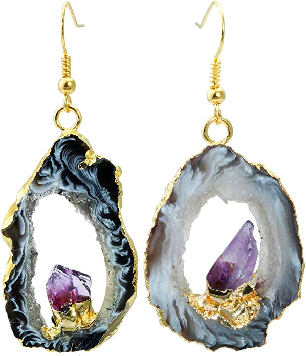 P39E Gold Bezel Set Stones Natural Gemstone Jewelry Druzy Agate Earring Pair Healing Crystals Stone Cluster Black Crystal Earrings