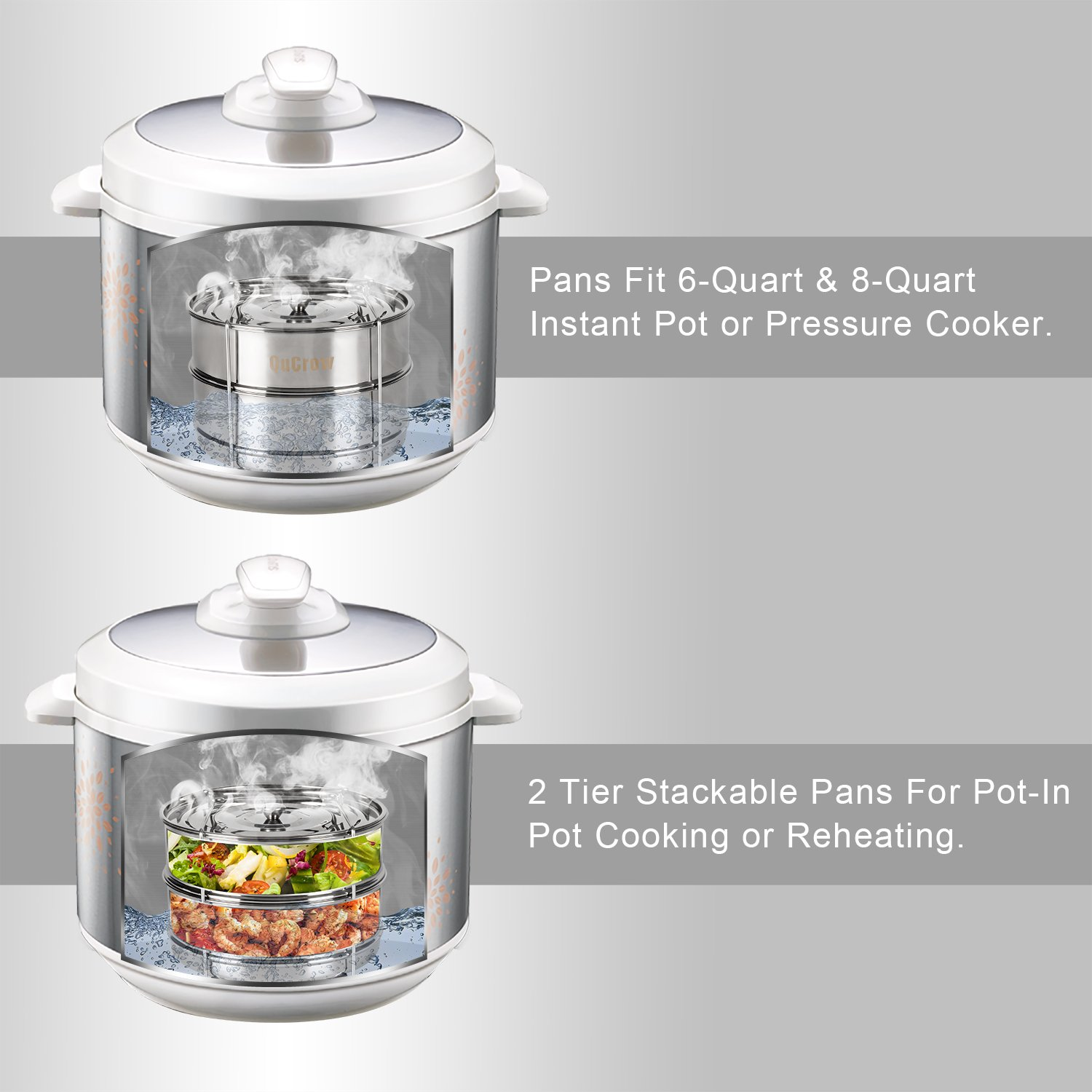 QuCrow Stackable Steamer Insert Pan with Sling - Stainless Steel Food Steamer for 6/8 Qt Pressure Cooker – Instant Pot Accessary by QuCrow (Image #3)