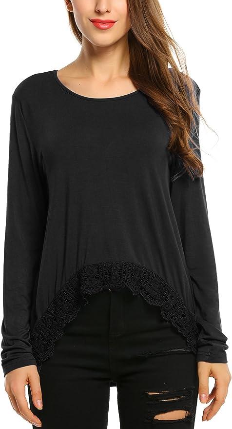 Zeagoo Womens Long Sleeve Casual Lace Trim Super Soft Flare Tunic Top Black