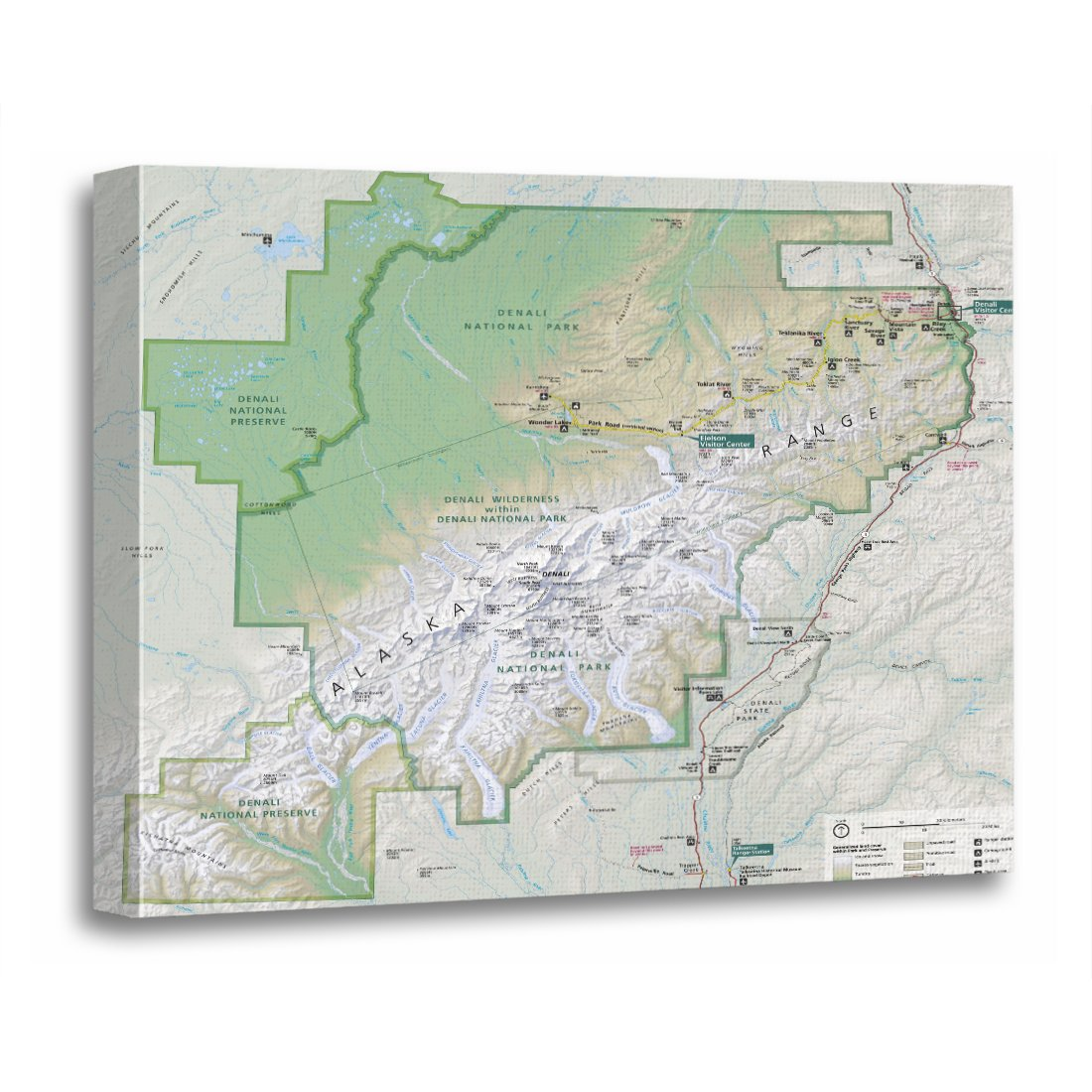 Amazon Com Torass Canvas Wall Art Print National Denali Alaska Map