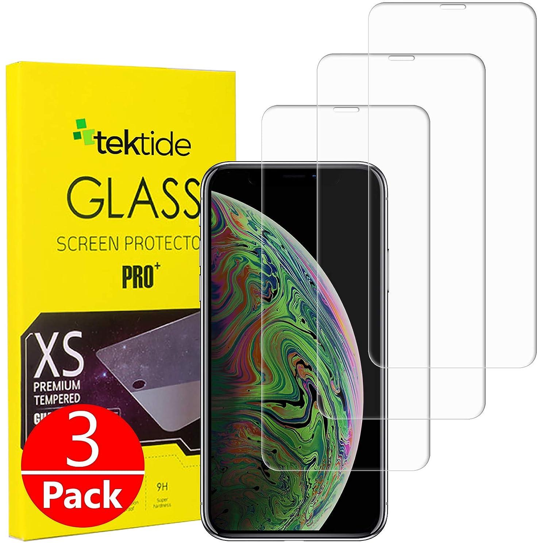 iPhone Xs Maxとの互換性があるTektideスクリーンプロテクター飛散防止安全ラミネート加工強化ガラススクリーンカバー/ディスプレイシールド[3パック]   B07GYV11XP
