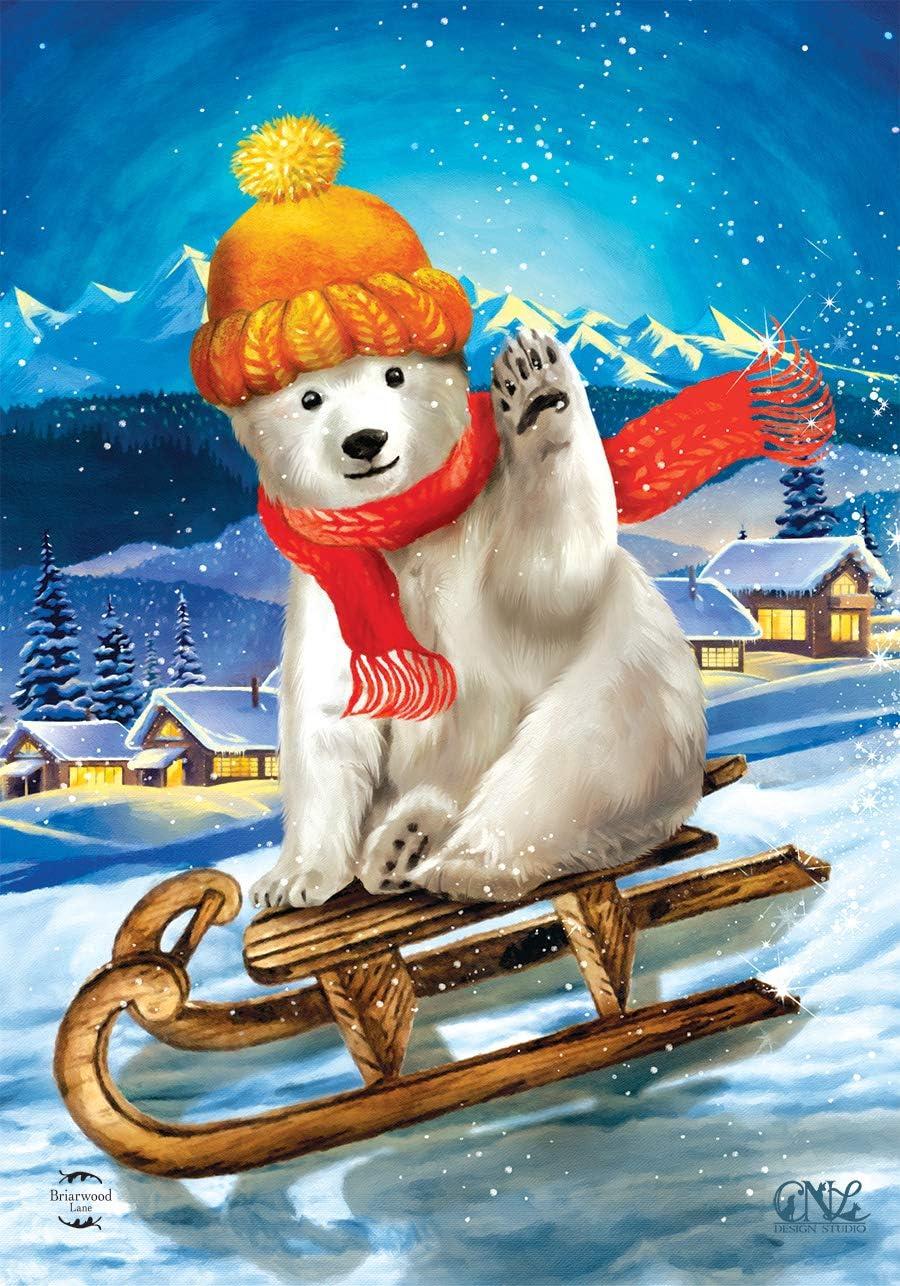 "Briarwood Lane Polar Bear Winter Garden Flag Sled Scarf 12.5"" x 18"""