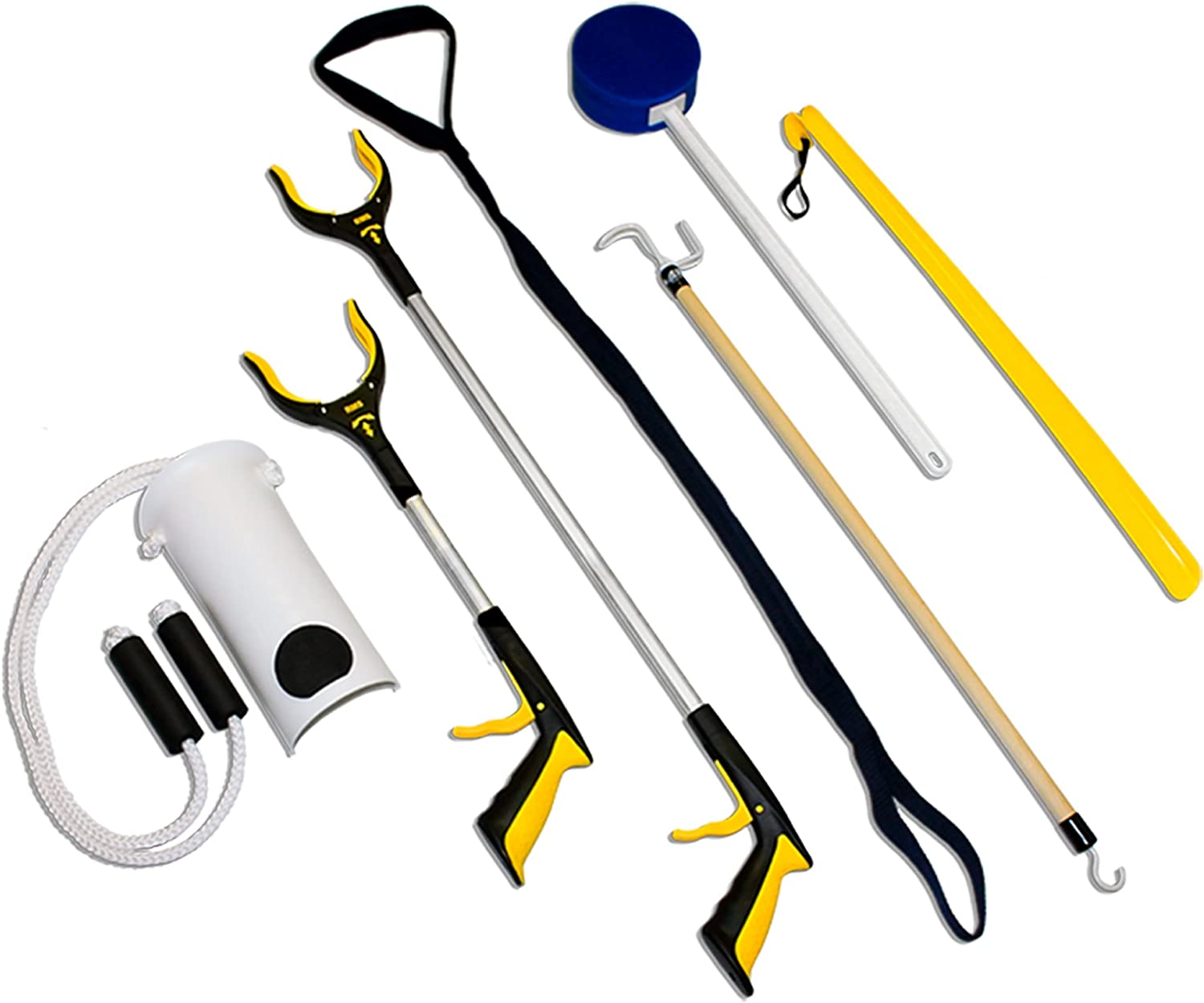 RMS 7-Piece Hip Knee Replacement Kit with Leg Lifter, 19 and 32 inch Rotating Reacher Grabber, Long Handle Shoe Horn, Sock Aid, Dressing Stick, Bath Sponge - Ideal for Knee or Back Surgery Recovery: Health & Personal Care