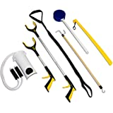 RMS 7-Piece Hip Knee Replacement Kit with Leg Lifter, 19 and 32 inch Rotating Reacher Grabber, Long Handle Shoe Horn, Sock Aid, Dressing Stick, Bath Sponge - Ideal for Knee or Back Surgery Recovery