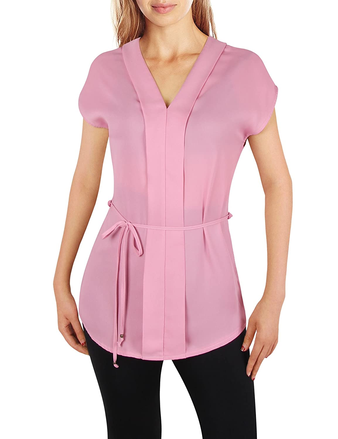 96dd7139ca22e Chiffon tunic blouse with detachable waistband and there has belt loops on  both sides. Recommend wear a camisole or tube top underneath