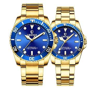 Amazon.com: Par de relojes clásicos de acero inoxidable ...