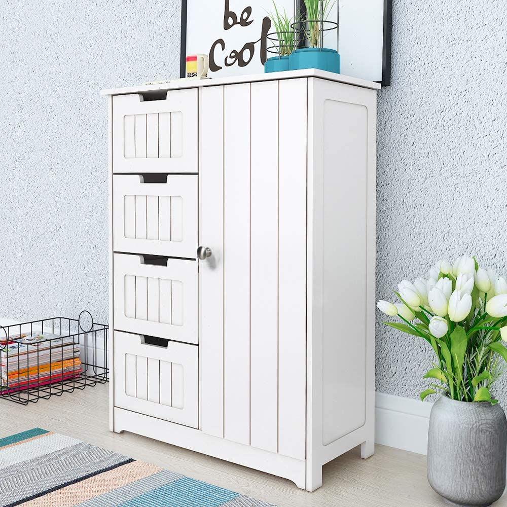 SogesHome Freestanding Bathroom Storage Cabinets Floor Cabinet Wooden Side Storage Organizer Cabinet with 4 Drawers and 1 Cupboard NSDCA-SYSRF6030 White