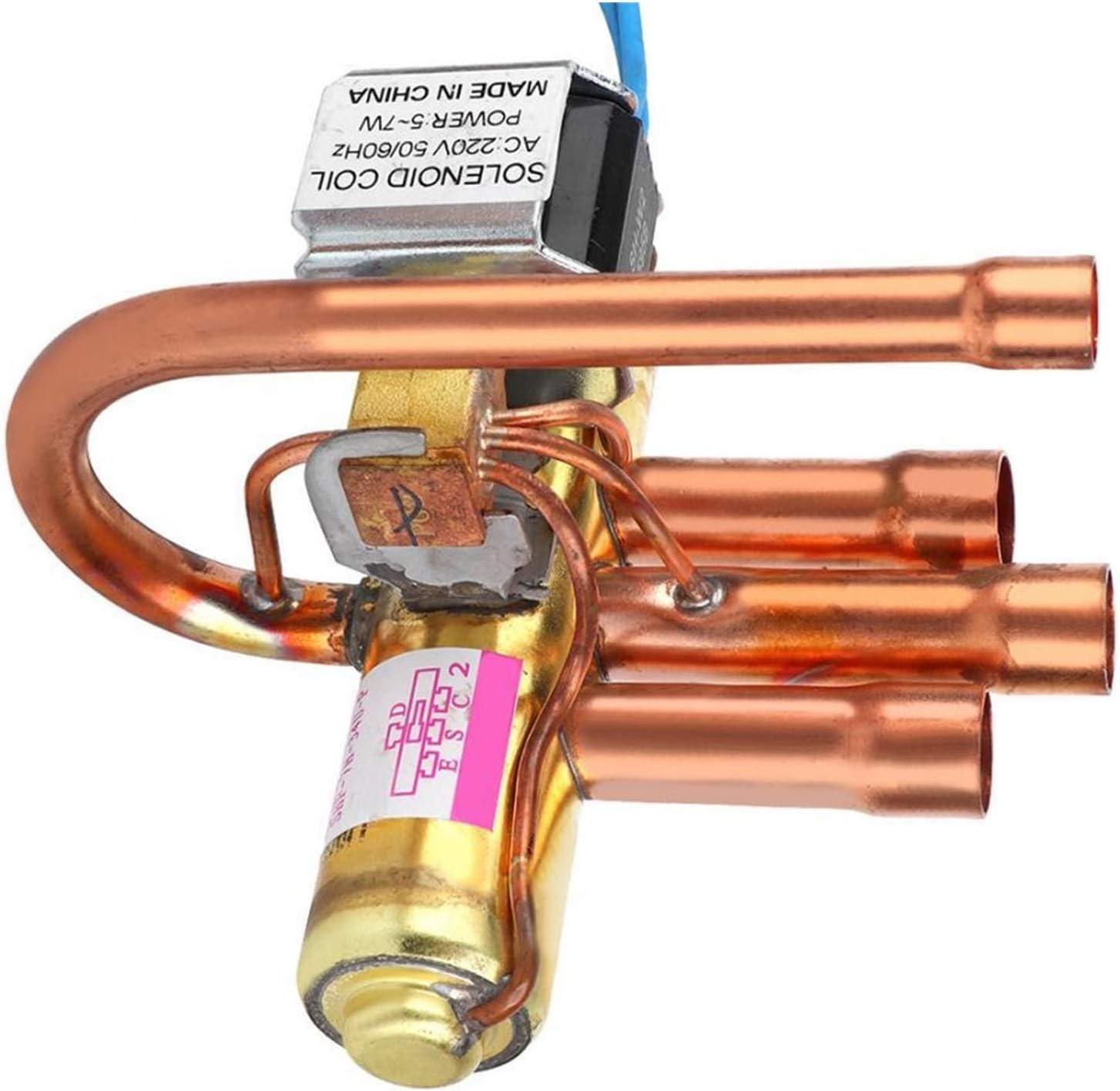 SHUAN QIAO Aire Acondicionado Válvula de inversión de Cuatro vías electromagnéticas con Bobina 1p Acondicionador de Aire de Cobre Válvula hidráulica Piezas de Repuesto (Color : 1P)