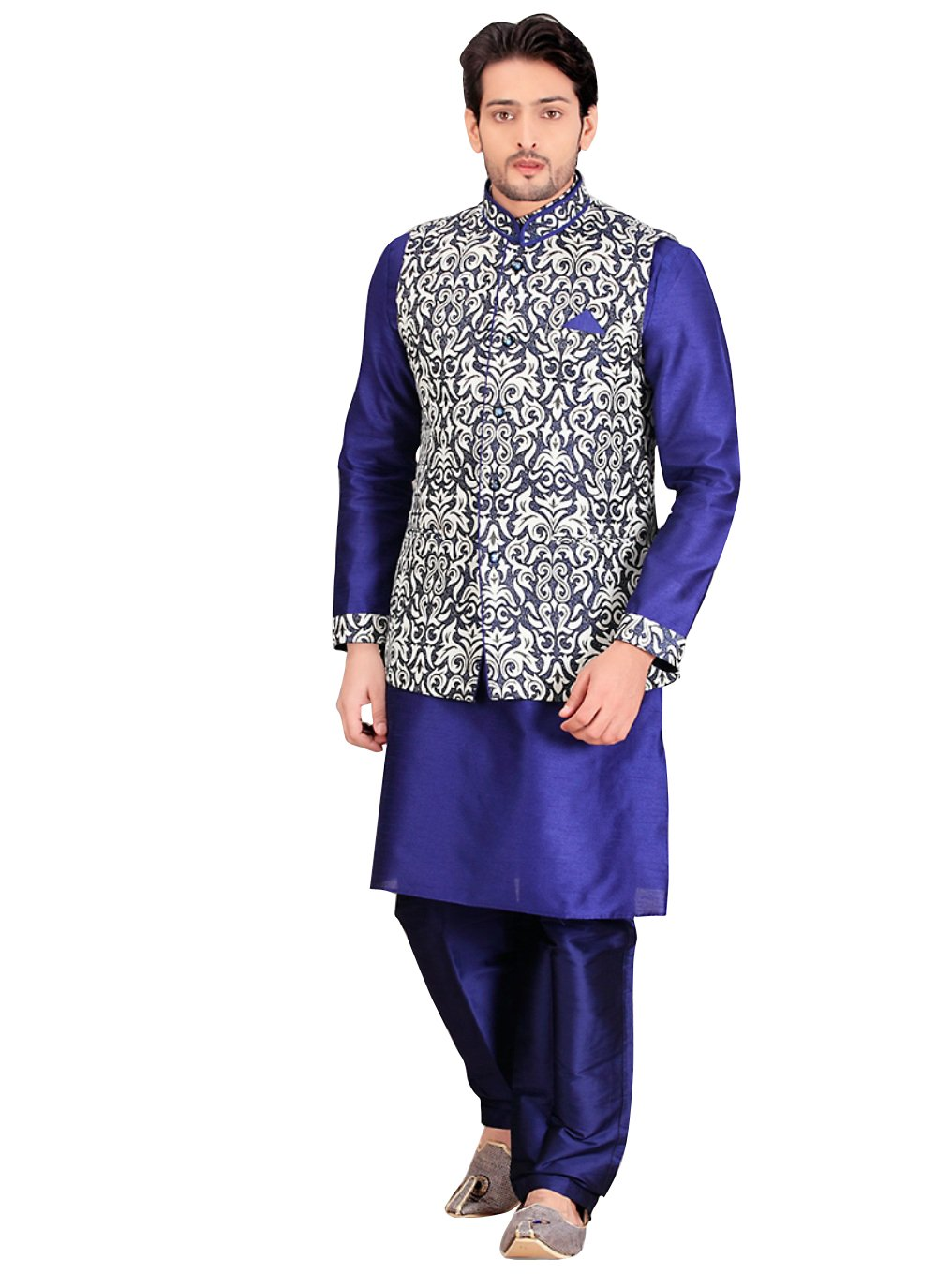 Blue Dupioni Raw Silk Indian Wedding Indo-Western Sherwani For Men