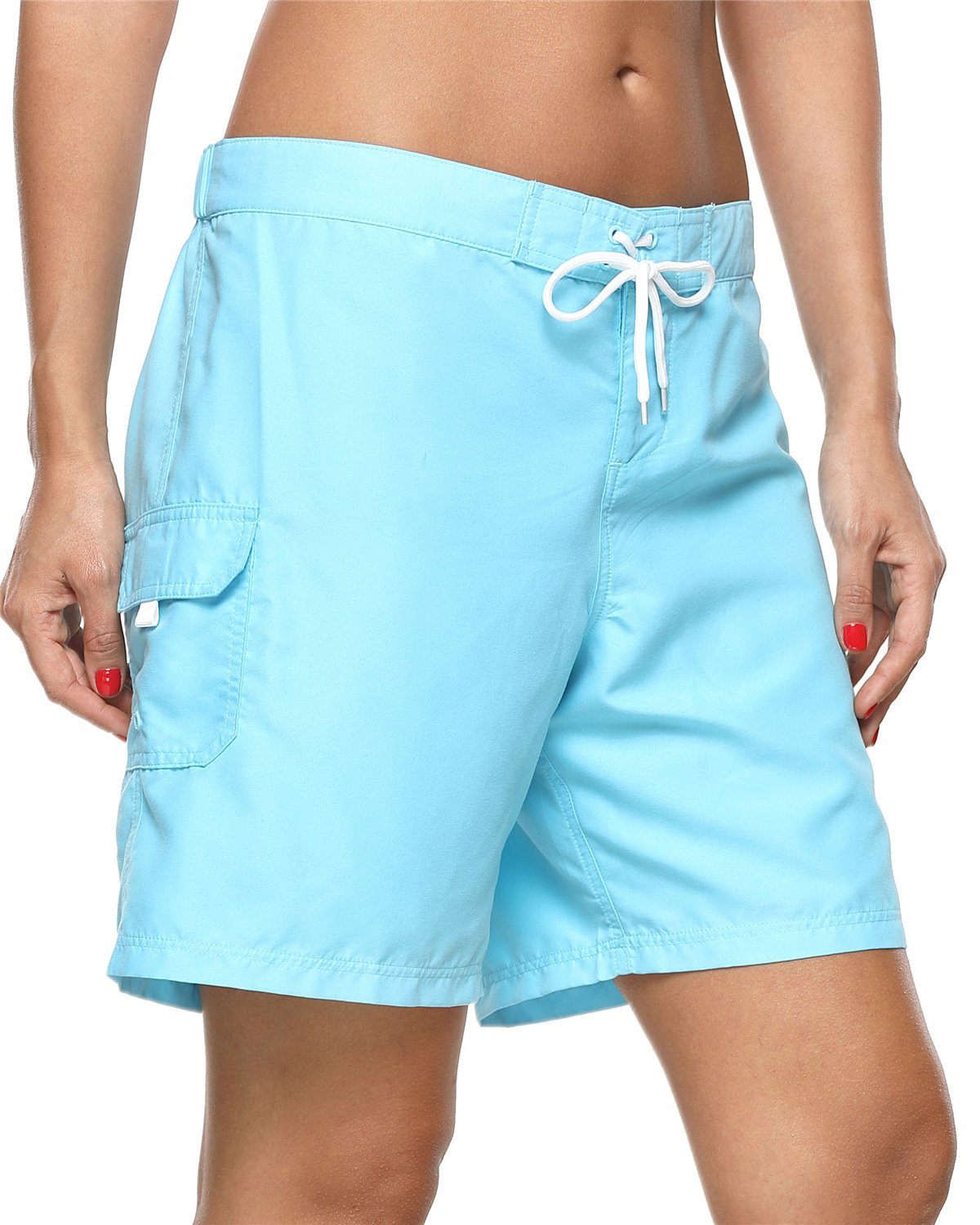 ALove Women's Loose Fit Swim Shorts Quick Drying Boardshorts Swimsuits Bottom Blue Medium