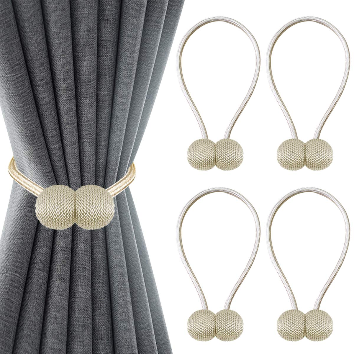 Topspeeder 4 Pack Magnetic Curtain Tiebacks,The Most Convenient Drape Window Tie Backs Decorative Weave Rope Clips Holdback Holder Hooks for Home Office Window Drapries,16 Inch Long with Beige Color