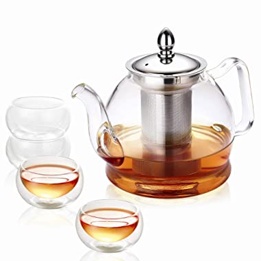 Hiware Teapot Set, 32 Oz Glass Teapot with Removable Infuser and Cups, Stovetop Safe Tea Kettle, Blooming and Loose Leaf Tea Maker Set