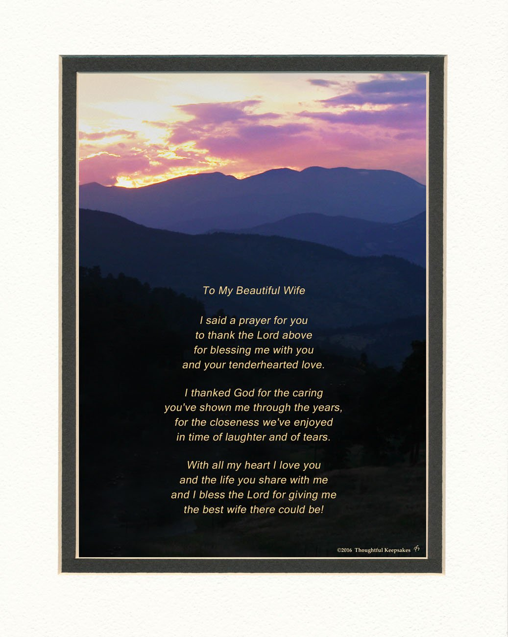 Wife Gift with Thank You Prayer for Best Wife Poem. Mts Sunset Photo, 8x10 Double Matted. Special Wife Gift for Anniversary, Birthday, Christmas
