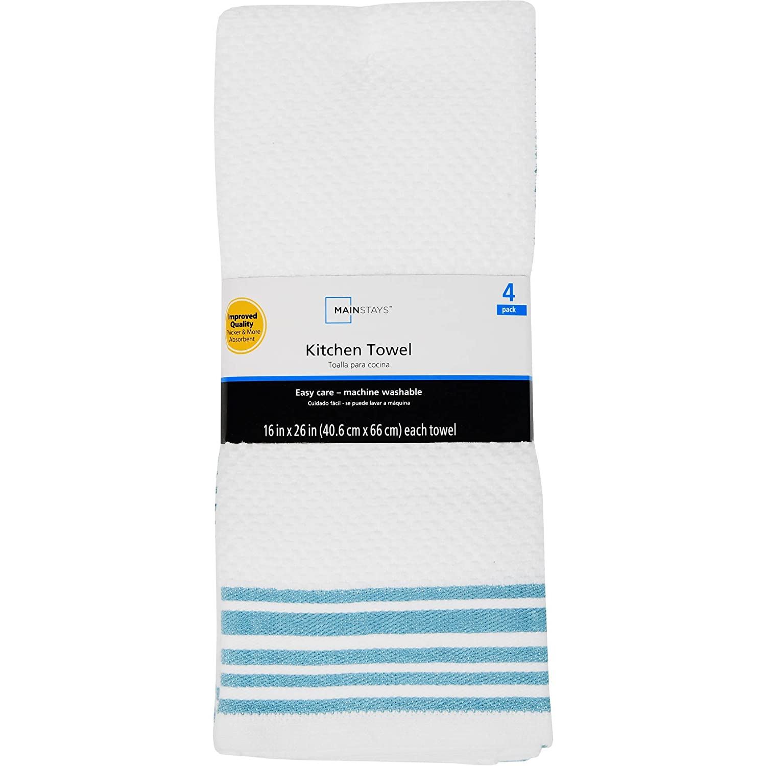 Mainstay Kitchen Towels - Set of 4 (Blue, White)