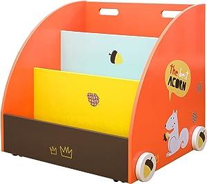 labebe Kid Bookshelf with Wheels, Orange Pine Wood Bookshelf for Kid 1 Year Up,Baby Bookshelf/Child Bookshelf/Toddler Bookshelf/Child Book Rack/Kid Book Display/Wood Bookshelf/Kid Bookshelf Storage