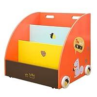 labebe - Porta giocattoli / libreria a scomparti in legno con ruote, con decorazione a motivo gufo