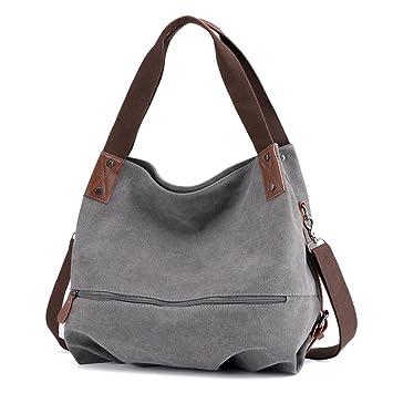 0a4215462ff1d bainuote Canvas Tasche Damen Umhängetaschen Handtasche Vintage  Schultertasche Shopper Taschen Damen Henkeltasche Hobo Tasche für Mädchen