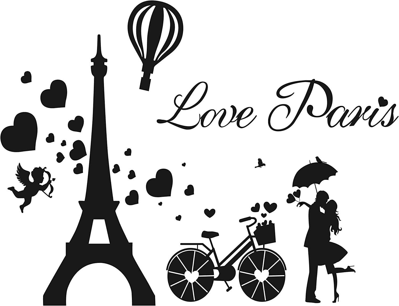 GULIGULI Love Paris Wall Decals-Eiffel Tower Romantic Vinyl Stickers for Bedroom Living Room Home Decor