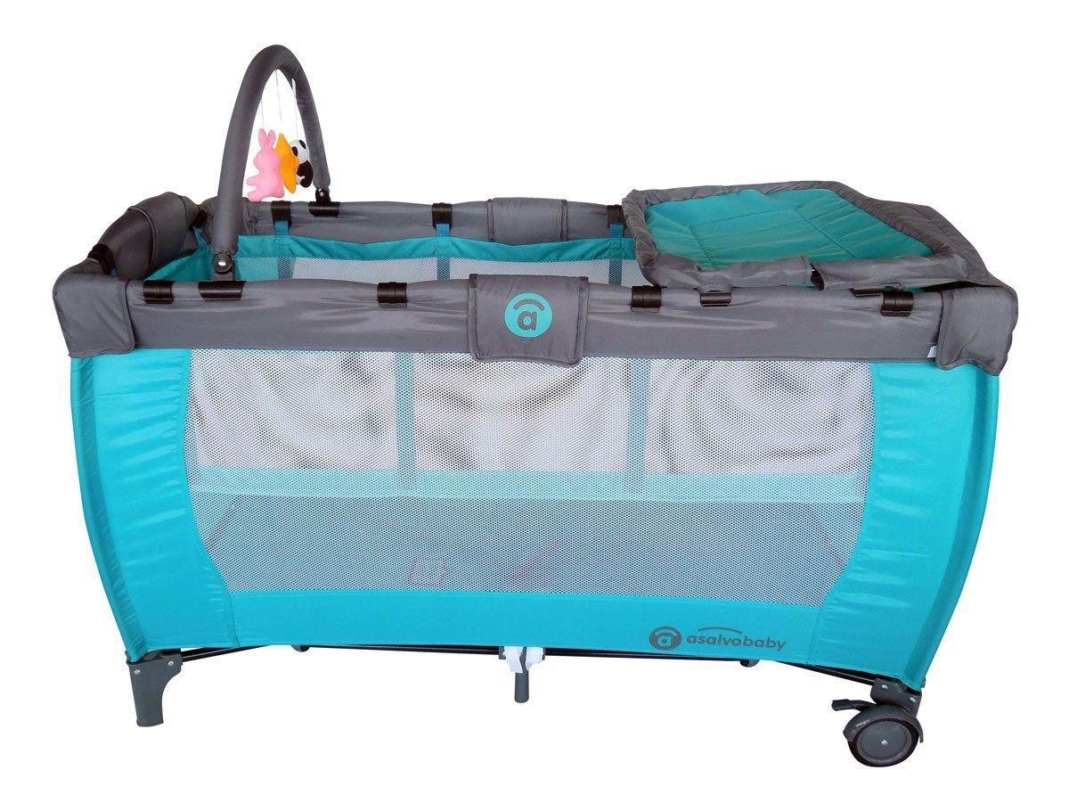 Asalvo Canarias - Cuna de viaje plegable con bolsa de transporte, color turquesa: Amazon.es: Bebé
