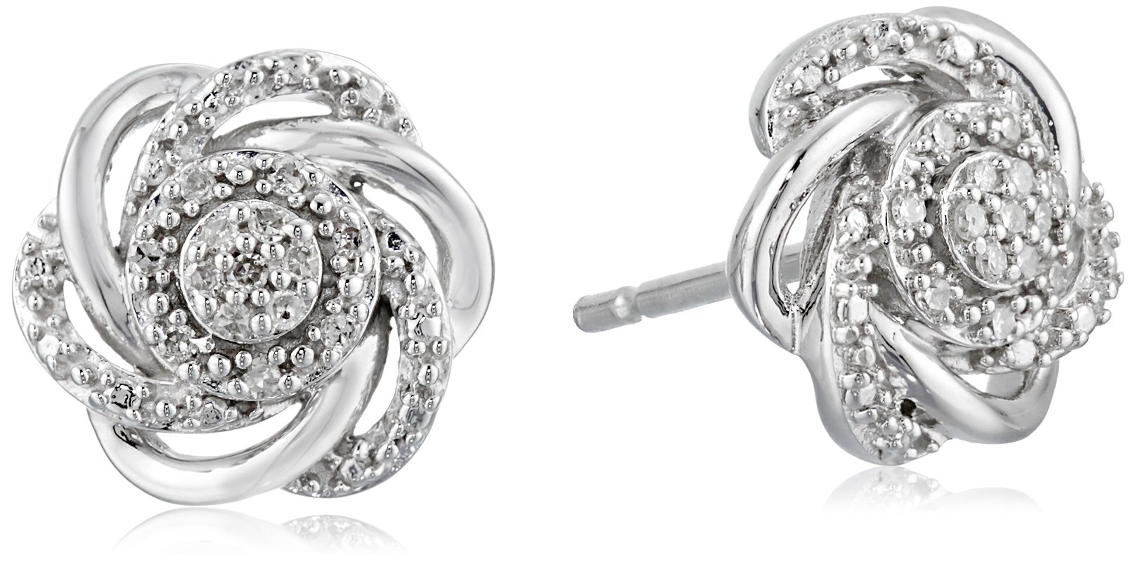 Sterling Silver Diamond 7 Stones Cluster Flower Stud Earrings by Amazon Collection