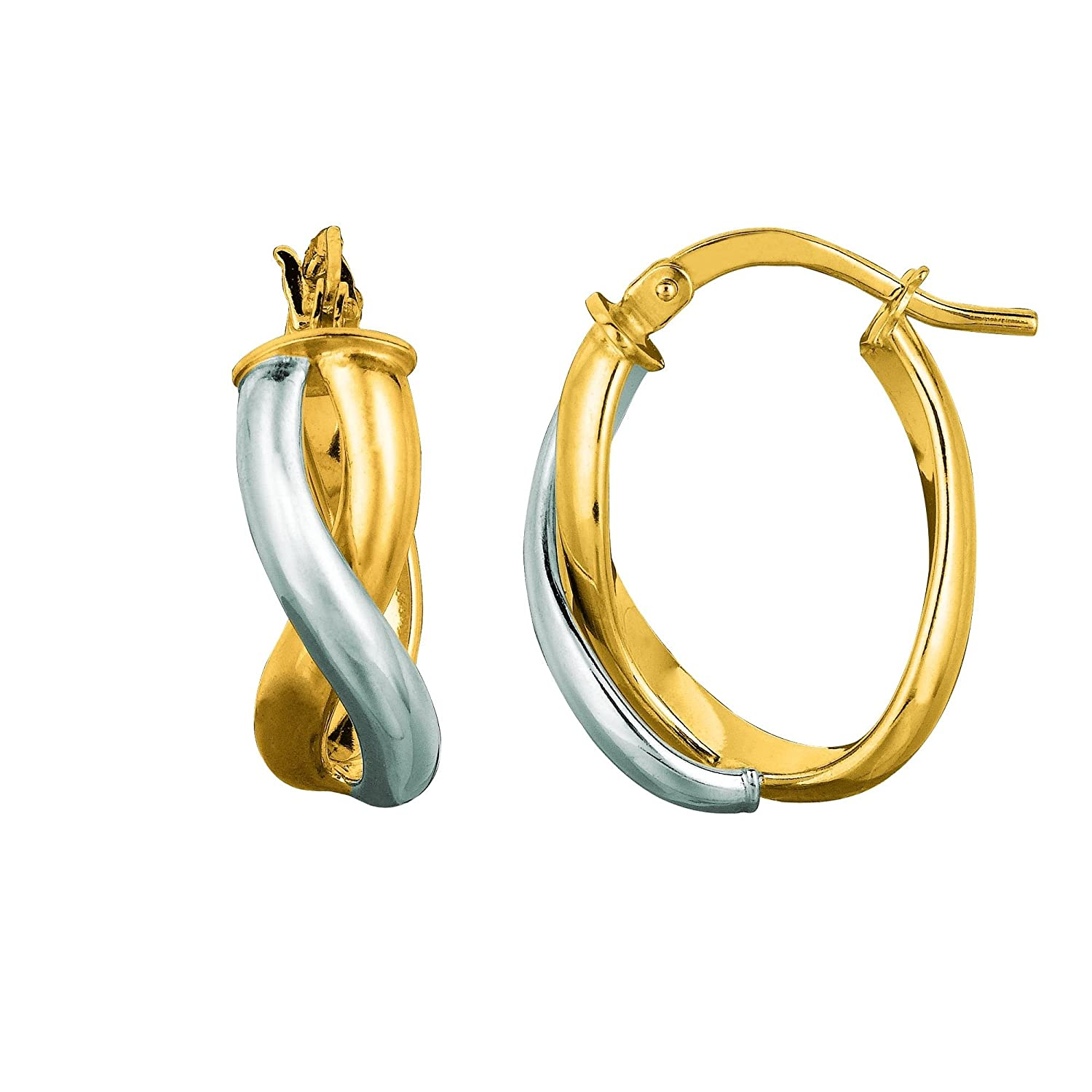 14K Yellow and White Gold Shiny Oval Shape Double Row Twisted Hoop Earring with Hinged Clasp
