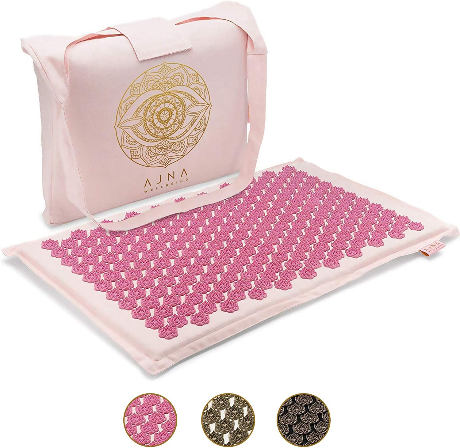 Acupressure Mat for Massage - Natural Organic Cotton Acupuncture Mat & Bag (Lotus Lily)