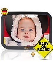 TDP24® Autospiegel Baby I Rückspiegel Baby Auto - Bruchsicherer Rücksitzspiegel für Babys I Spiegel Auto Baby I Baby on board Schild + E-Book I Größe 24,5 x 17,5 cm I Farbe Schwarz