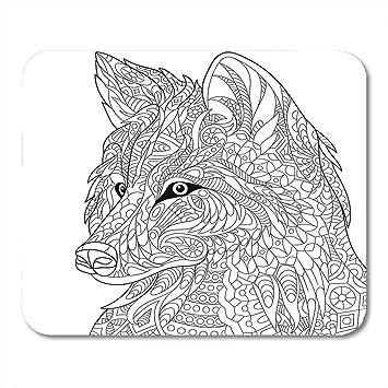 Mauspad Zentangle Zeichentrickwolf Weisse Skizze Fur Erwachsene