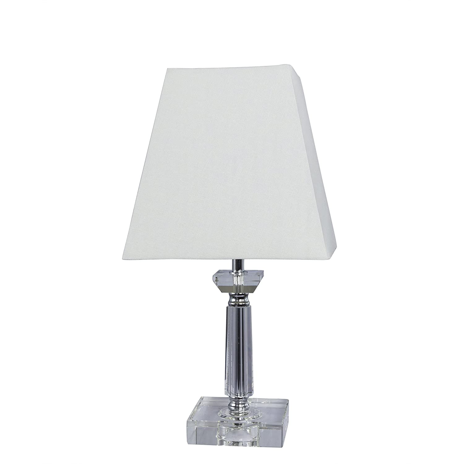 15-Inch Chrome Fangio Lighting 5086 Traditional Crystal and Metal Table Lamp with Accents