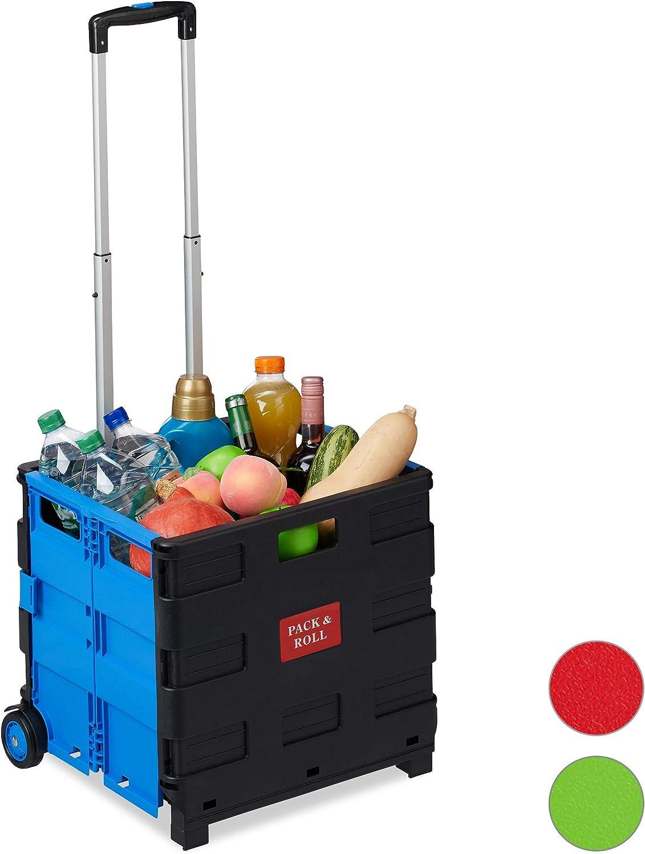 Relaxdays Carrito Compra Plegable, 2 Ruedas, Caja Transporte, hasta 35 kg, 98 x 45,5 x 37 cm, Plástico-Aluminio, Azul: Amazon.es: Hogar