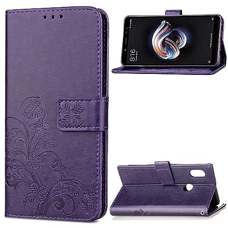 Funda Xiaomi Redmi Note 5 Pro, LAGUI Los Adornos Bien Definidos y Grabados Carcasa Tipo Libro, de ranuras para tarjetas y soporte horizontal y solapa ...