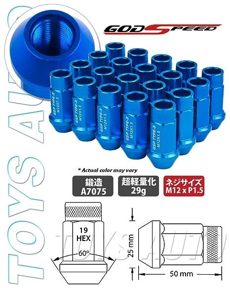 Godspeed Type-3 20 Pieces 12x 1.5mm Blue Extended Aluminum Lug Nut Lugs 12x1.5mm Wheel Nut Nuts Fit ALL Hyundai , Accent , Azera , Elantra , Genesis ...