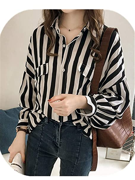 93ca18a408d12 Striped Blouse v-Neck Long Sleeve Work Shirts Women Office Tops Spring  Autumn Women Blouse at Amazon Women's Clothing store: