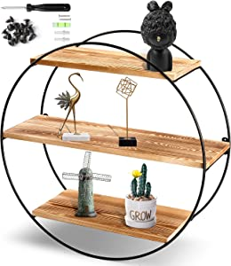 KAThome 4U Floating Shelves Wall Mounted, 3 Tier Geometric Round Wall Shelves Decorative Wood and Metal Hanging Shelf, Rustic Decorative Wall Shelf for Bedroom, Living Room, Bathroom, Kitchen, Office