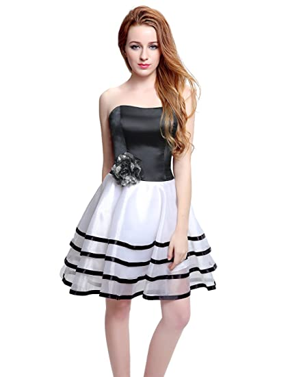 Sarahbridal Sweetheart Bridesmaid Short Prom Homecoming Party Dresses For Juniors LX197 White&Black UK18