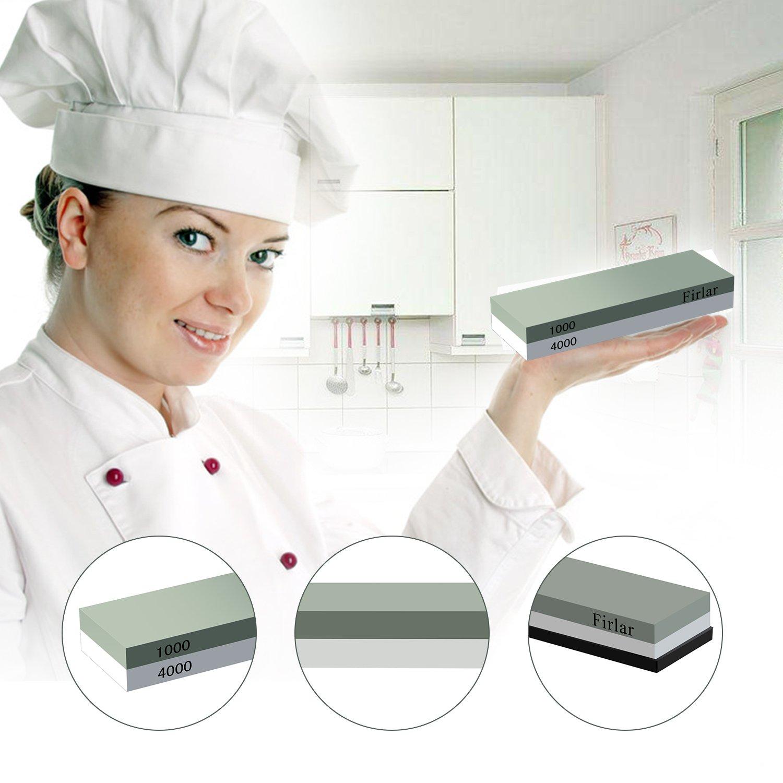Firlar Abziehstein Wetzstein 1000 4000 mit 2-IN-1 Wetzstein Schleifstein für Messer Silikon Anti-Rutsch-Basis für Küchenmesser, Taktische Messer und vieles mehr