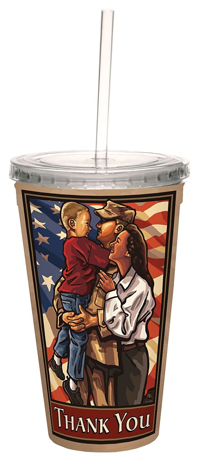 TreeFree Greetings 80451 Welcome Home Soldier by Paul A. Lanquist Artful Traveler Double-Walled Acrylic Cool Cup with Straw, 16-Ounce, Multicolored