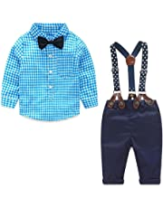 Yilaku Toddler Little Boy Clothes Bow Tie Shirts + Suspenders Pants Set Newborn Outfits Clothing Gentleman Suit 0-4 Years